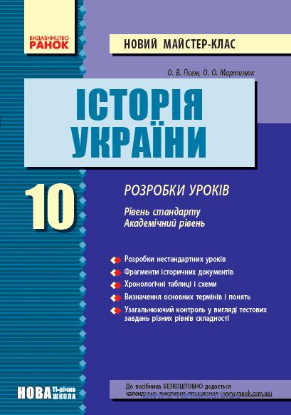 історія України 10 клас - розробки уроків, Гісем та Мартинюк, рівень стандарту