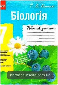 Готові домашні завдання до Робочого зошита з біології за 7 клас Котик