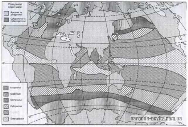 Області поширення поверхневих водних мас (В. М. Степанюк. 1983)