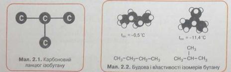 Карбоновий ланцюг ізобутану, будова і властивості його ізомерів