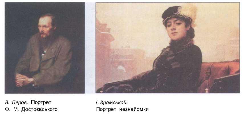 В. Перов Портет Ф.М. Достоєвського. І. Крамськой Портет незнайомки.