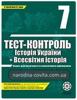 Готові домашні завдання до посібника Тест-контроль знань Історія України, Всесвітня Історія 7 клас Воропаєва