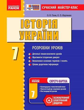 Плани-конспекти, розробки уроків з Історії України за 7 клас